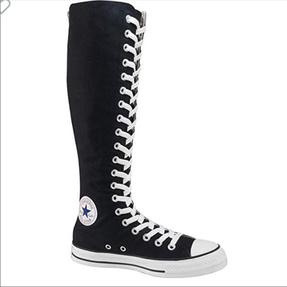 Knee High Black Converse Tennis Shoes